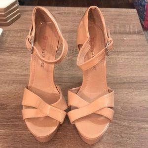 JustFab Nude Heels, size 6.5